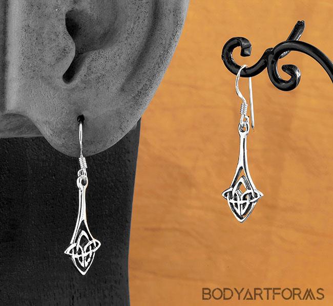 Silver Celtic Knot Drop Earrings