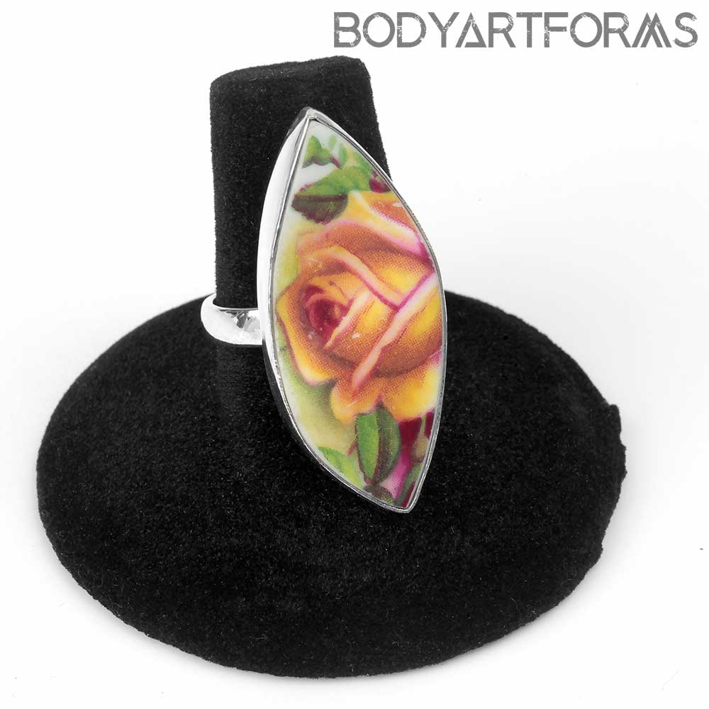 Adjustable Silver and Ceramic Rose Ring
