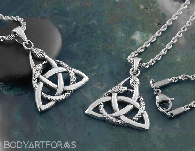 Coiled Snakes Triquetra Necklace
