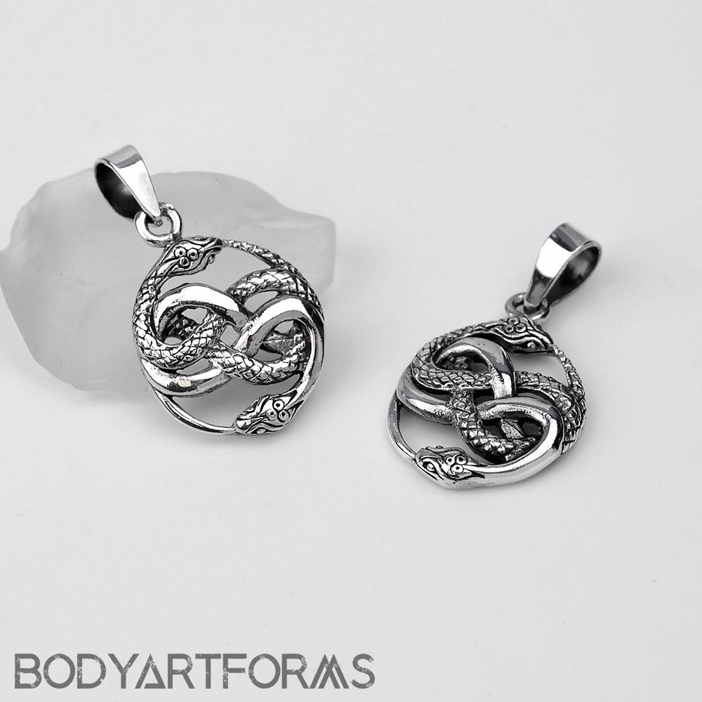 Silver Coiling Ouroboros Pendant