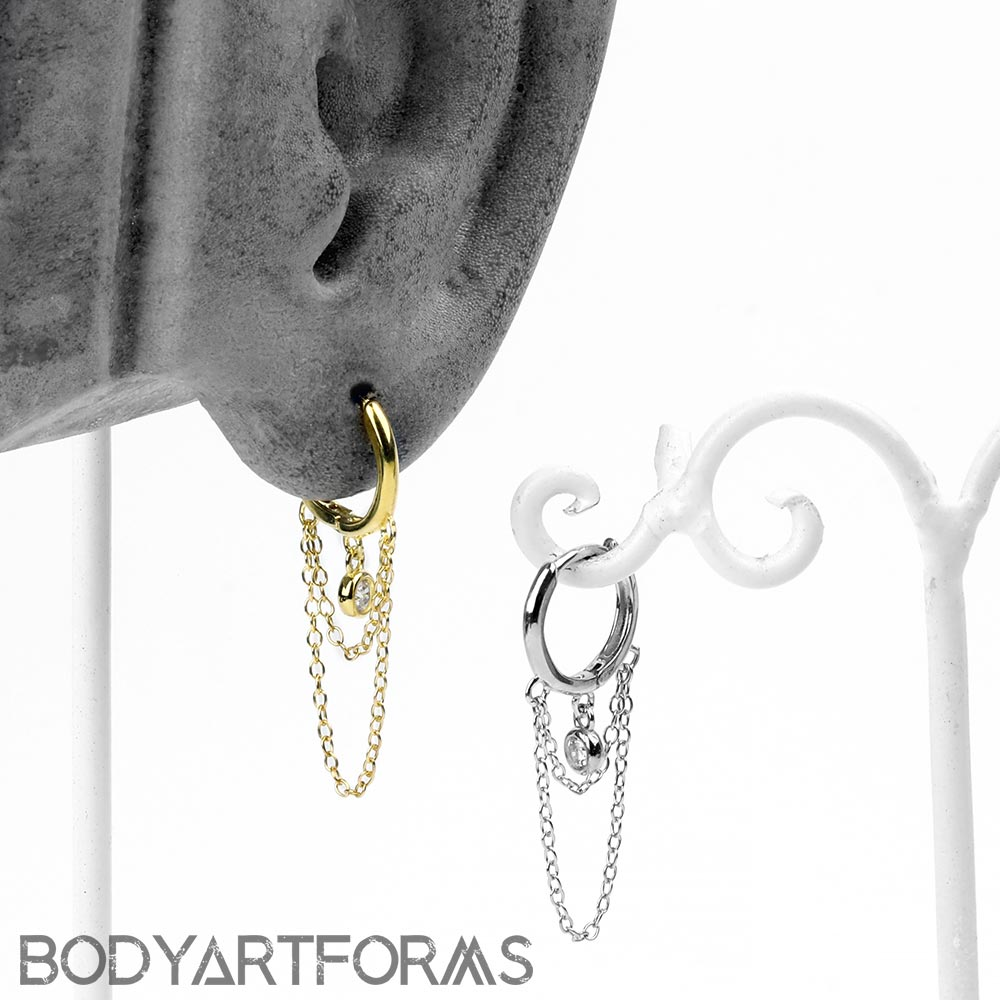Dangle Chain Huggie Earring