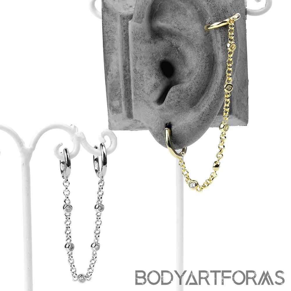 Gemmed Double Clicker Huggie Earring