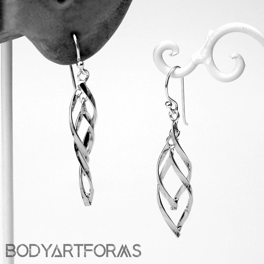 Silver Double Twist Dangle Earrings