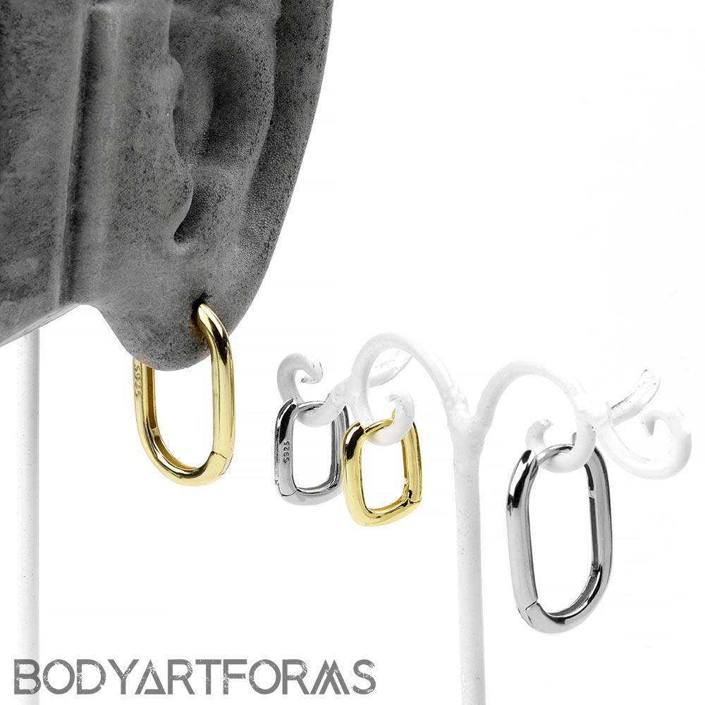 Ellipse Frame Huggie Earring