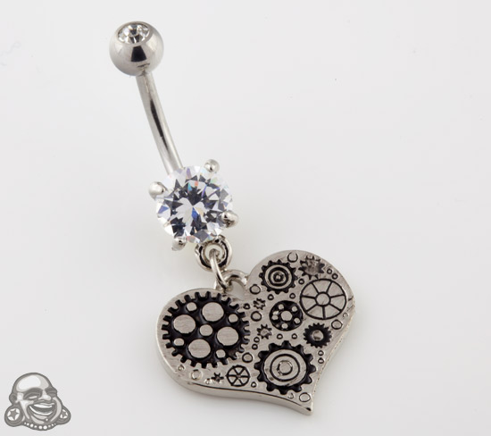 Steampunk Heart Dangle Navel