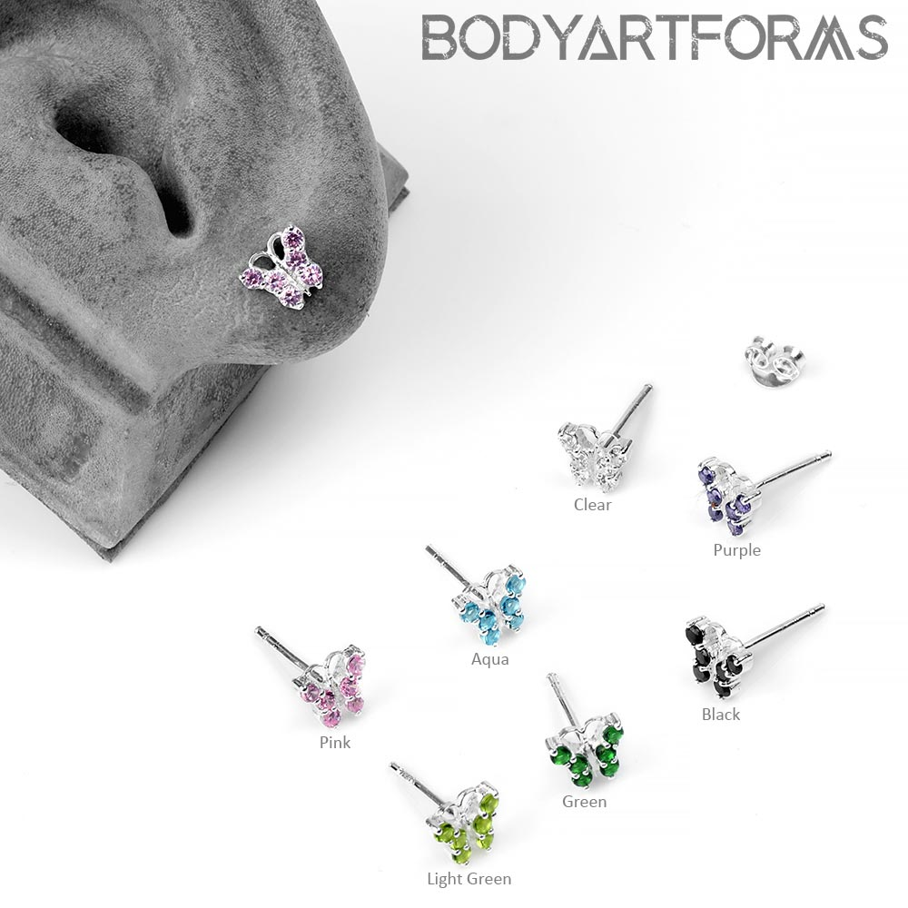Silver Gemmed Butterfly Stud Earrings