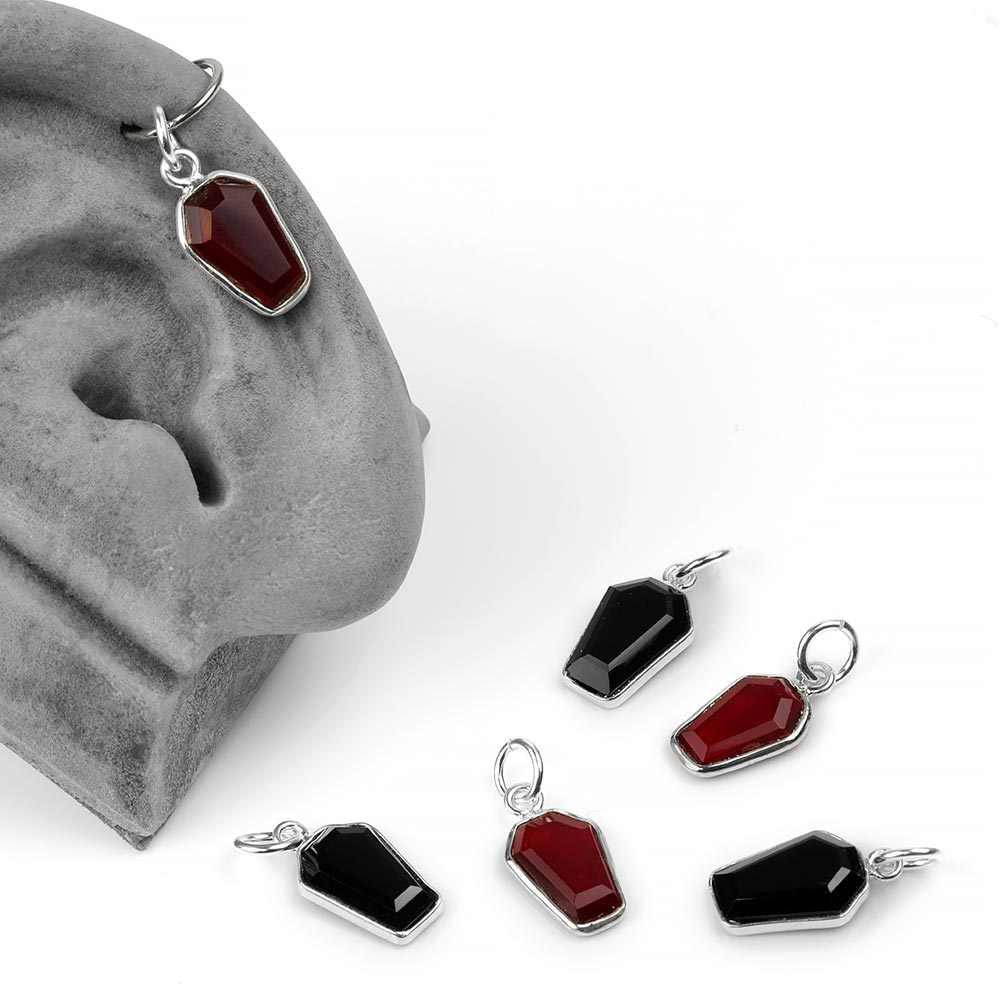 Silver and Gemmed Coffin Charm Pendant