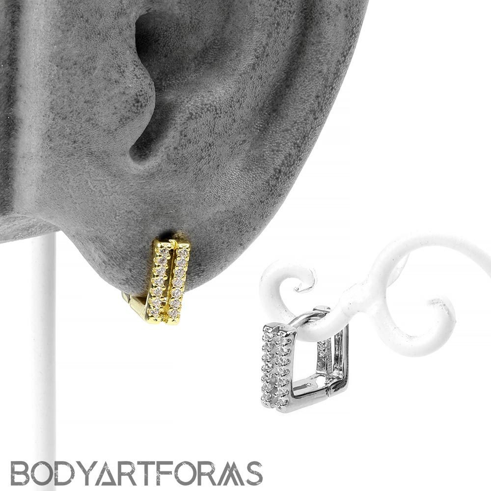 Deco Cube Huggie Earring