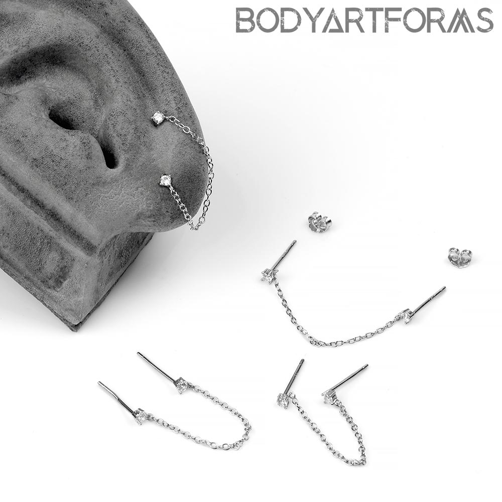 Silver Dual Gemmed Chained Earrings