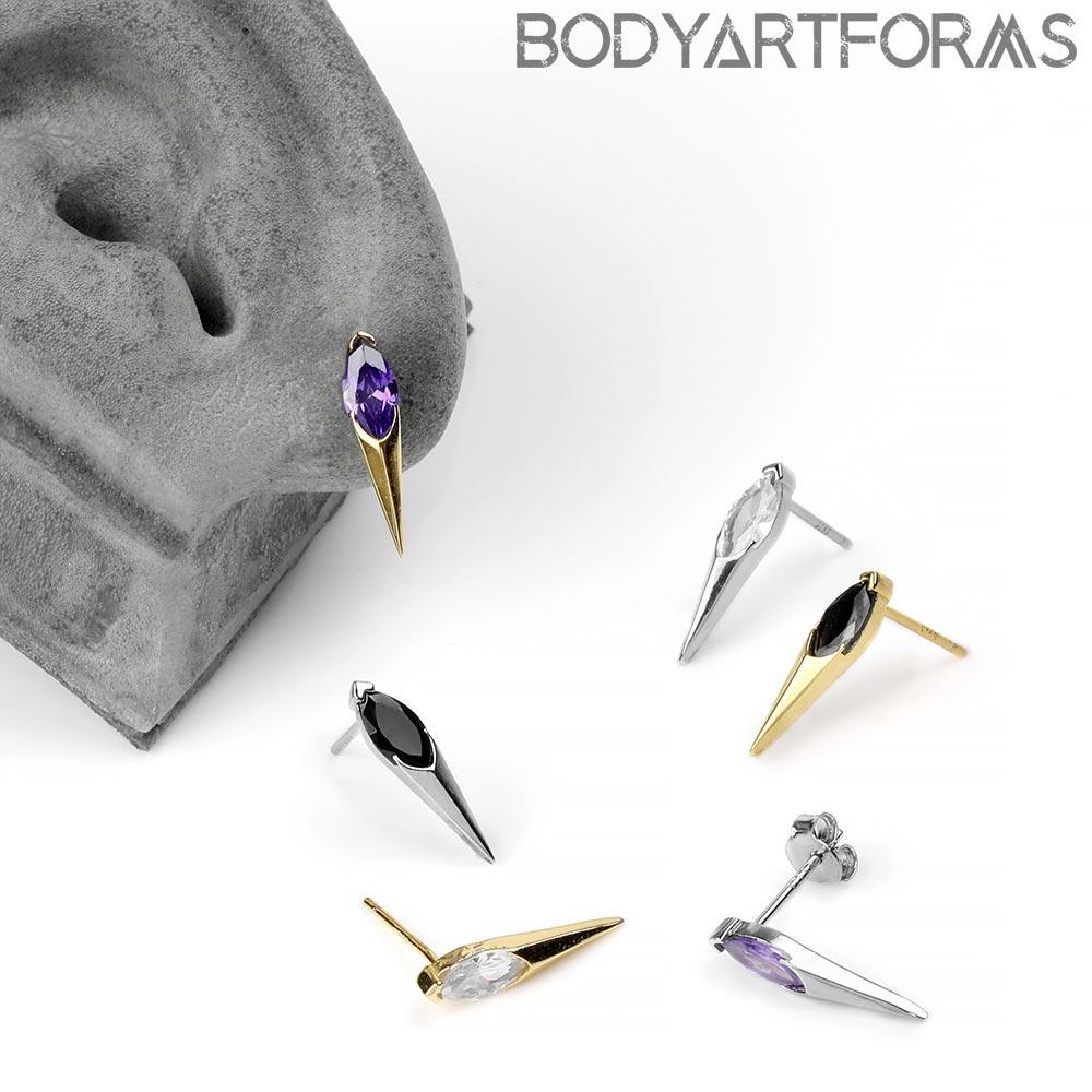 Gem Spike Stud Earrings
