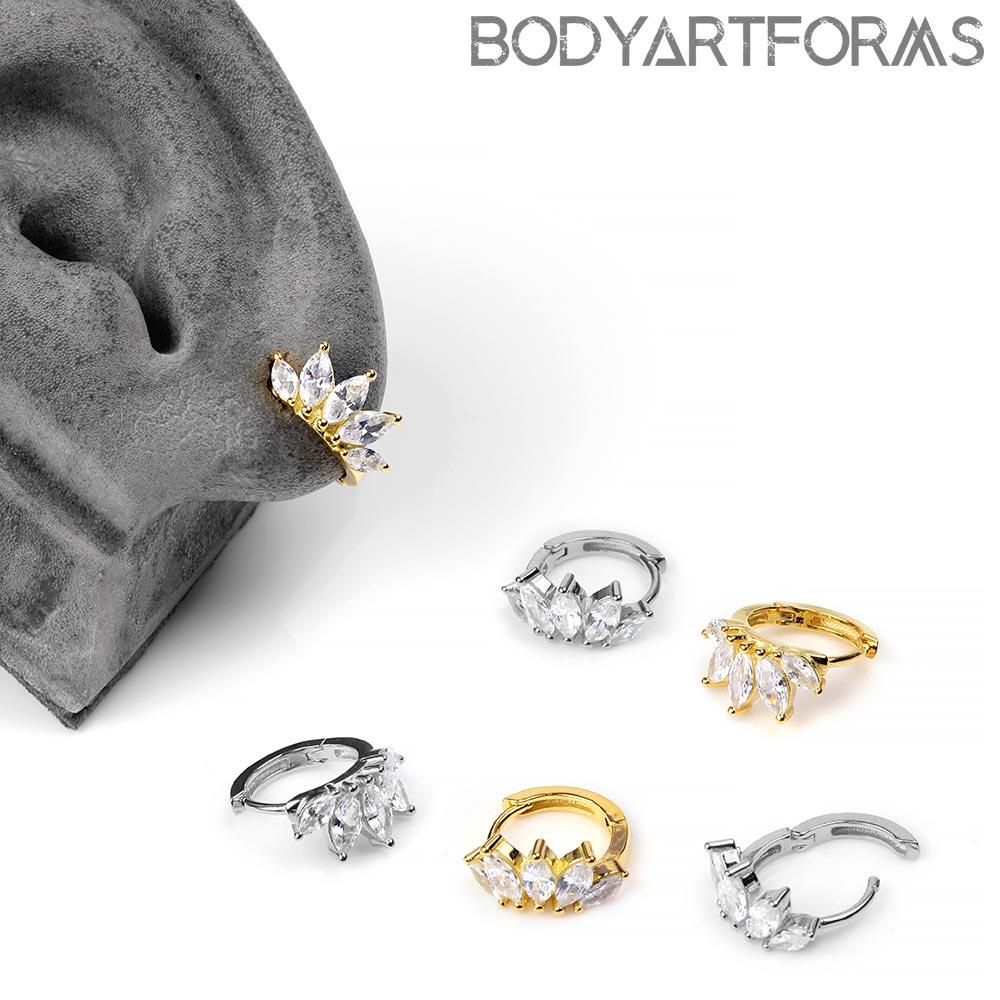 Side Gemmed Tiara Huggie Earring