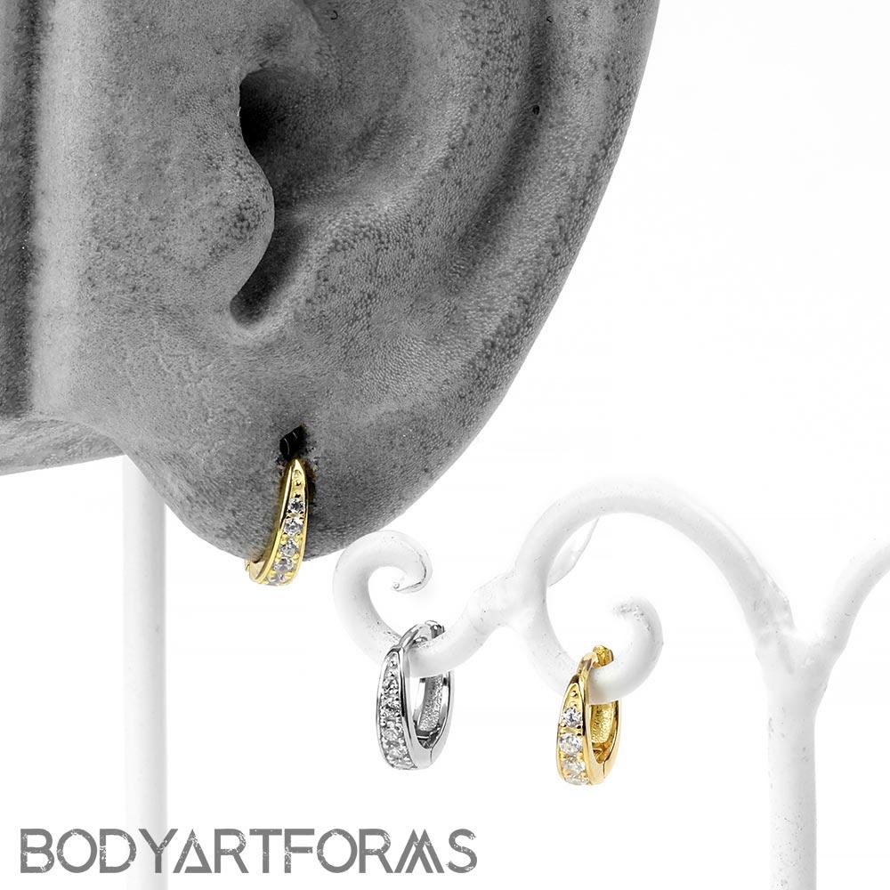 Gemmed Huggie Earring