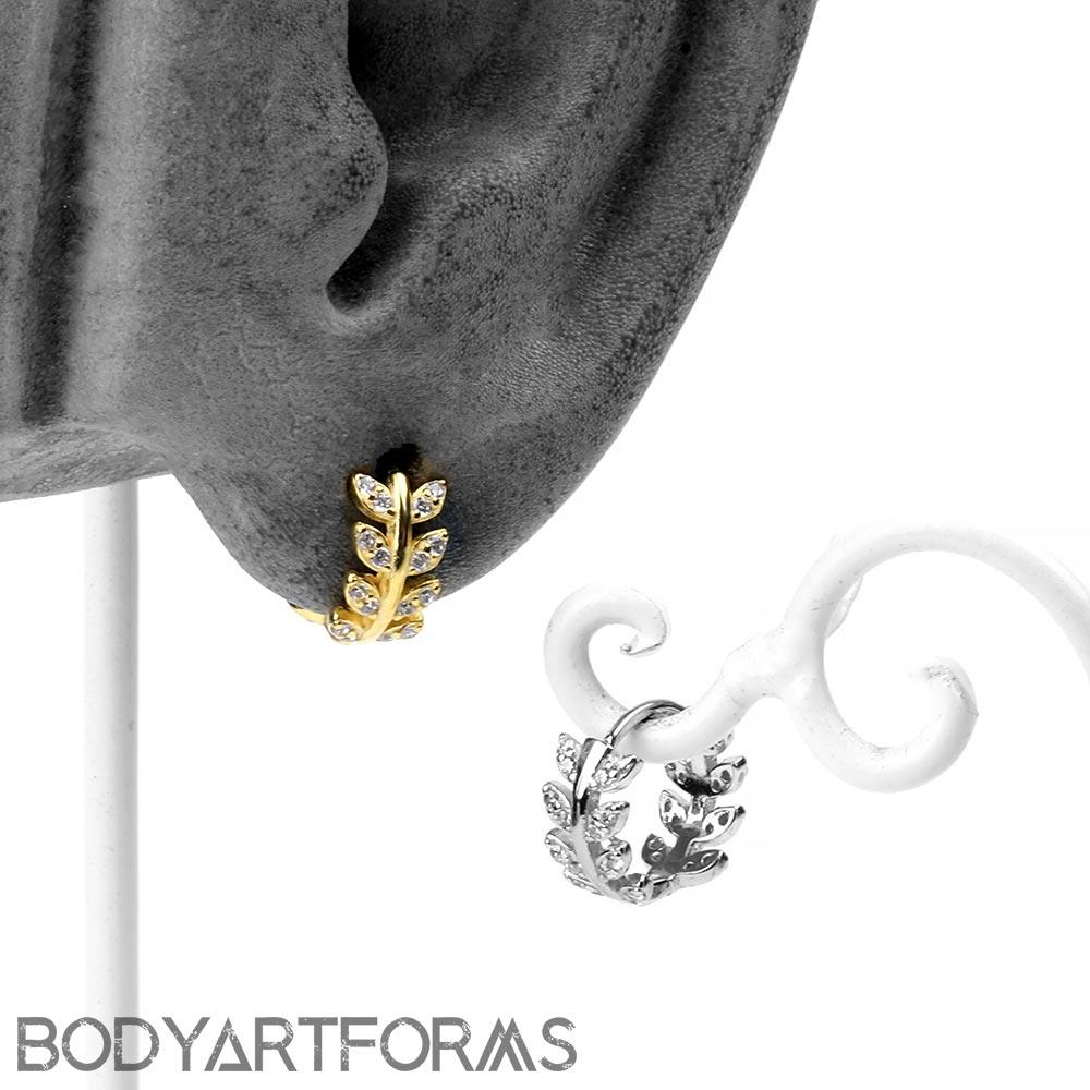Gemmed Laurel Huggie Earring