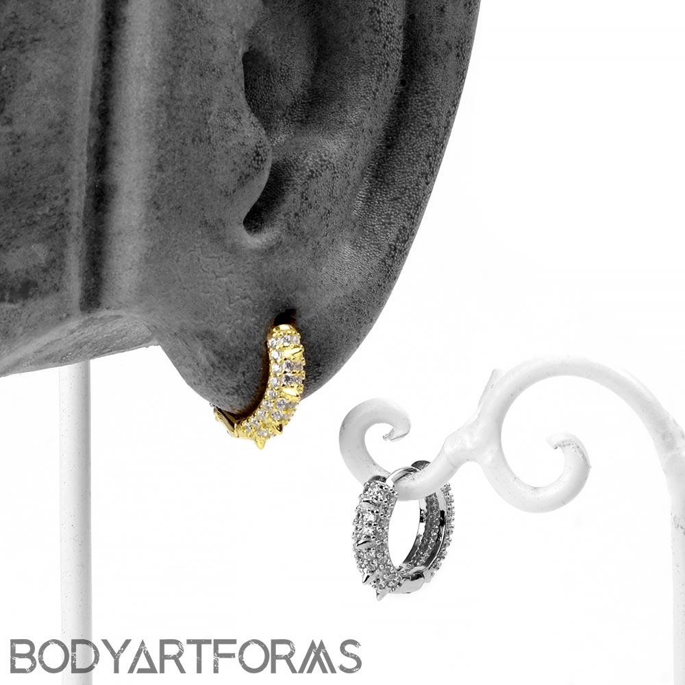 Gemmed Thorn Huggie Earring