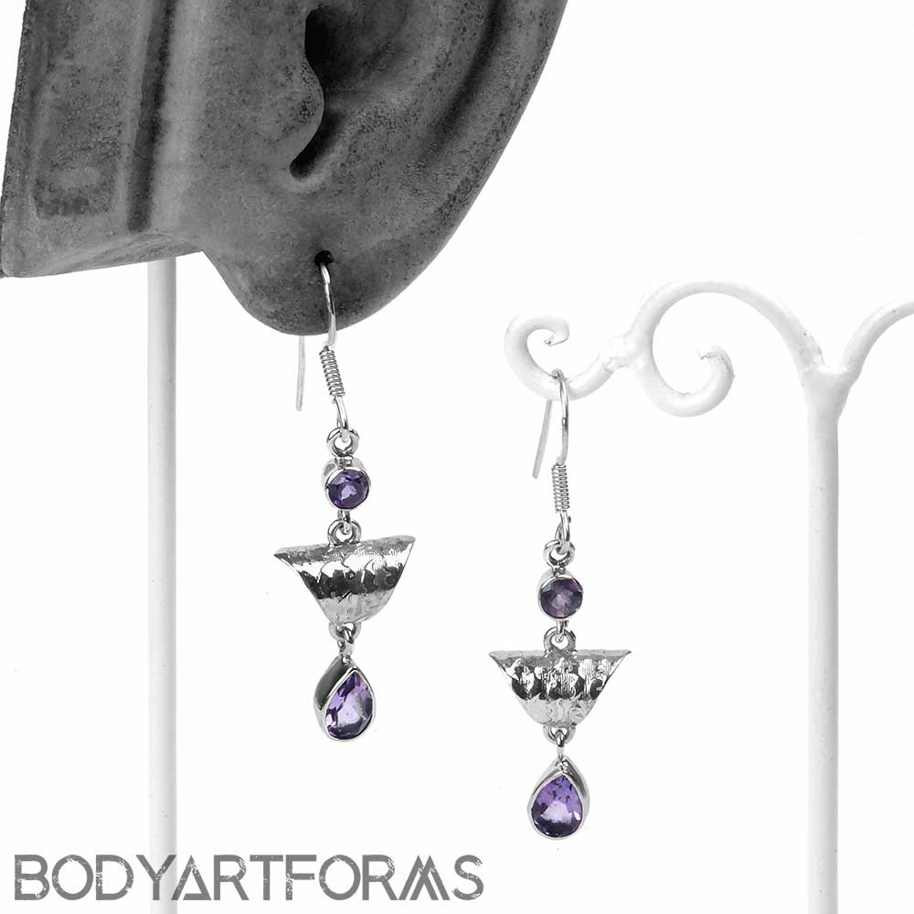 Ornate Silver and Amethyst Earrings