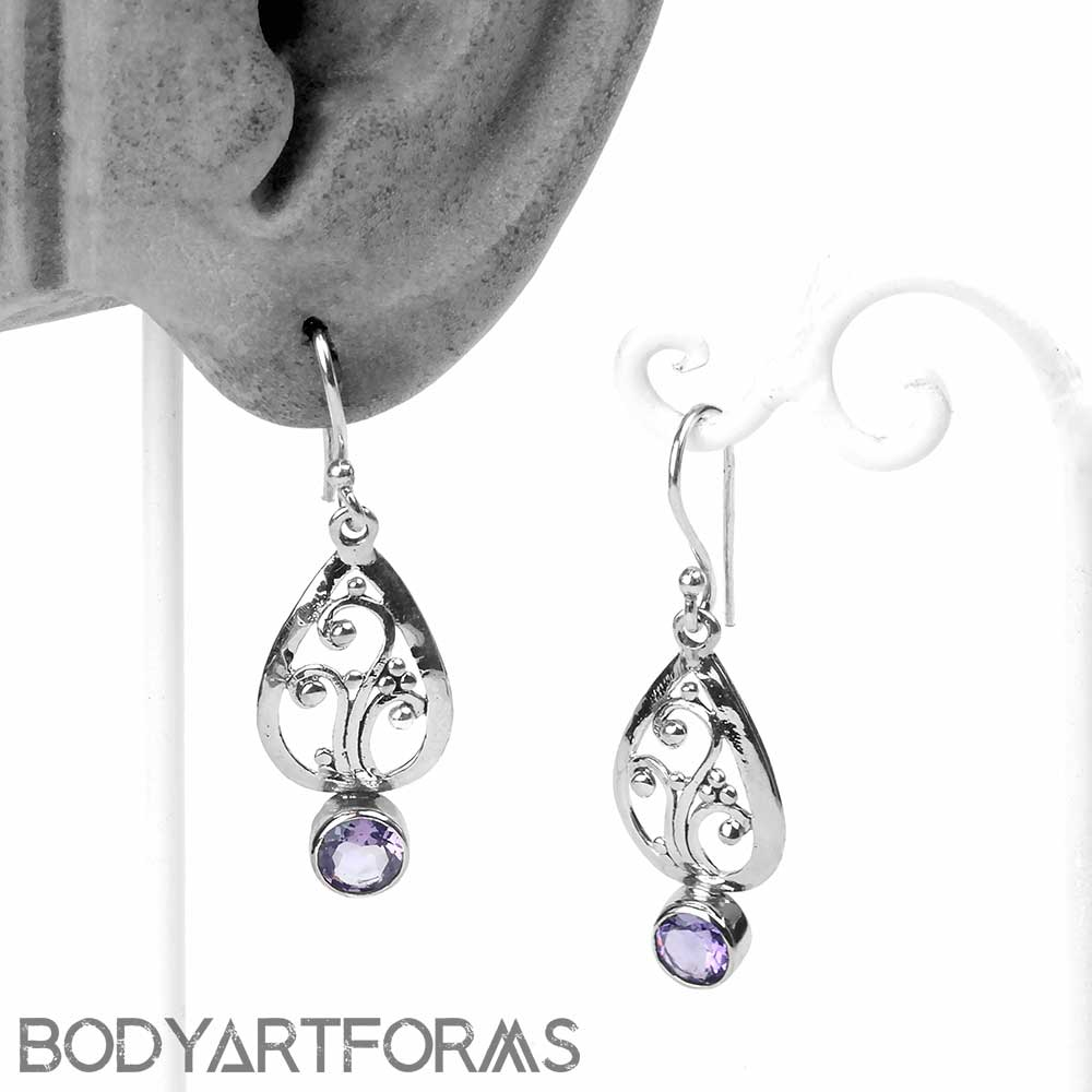 Silver and Amethyst Fountain Earring
