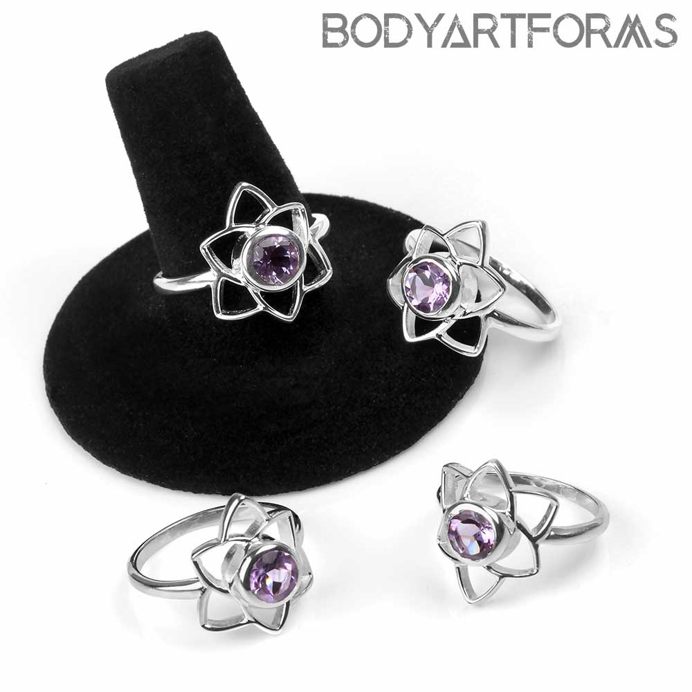 Sterling Silver and Amethyst Lotus Ring