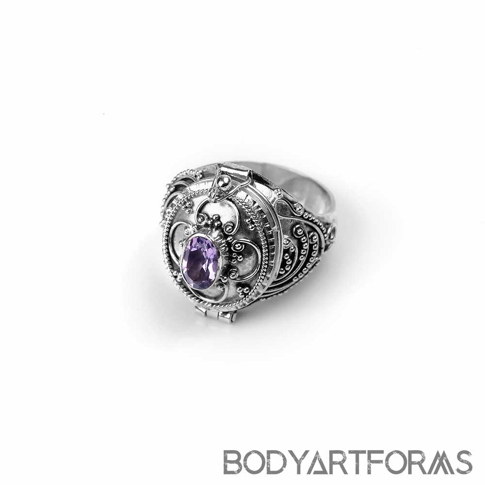 Silver and Amethyst Poison Ring