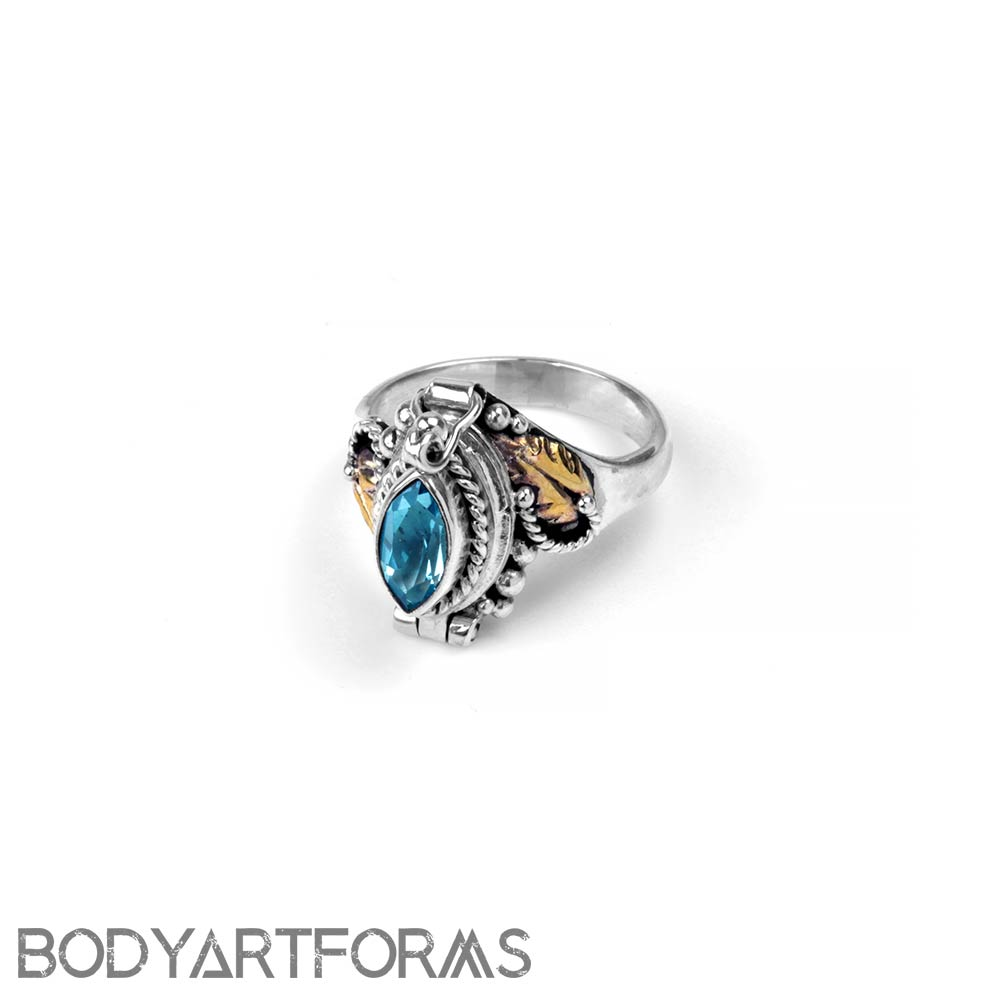 Silver and Genuine Blue Topaz Poison Ring