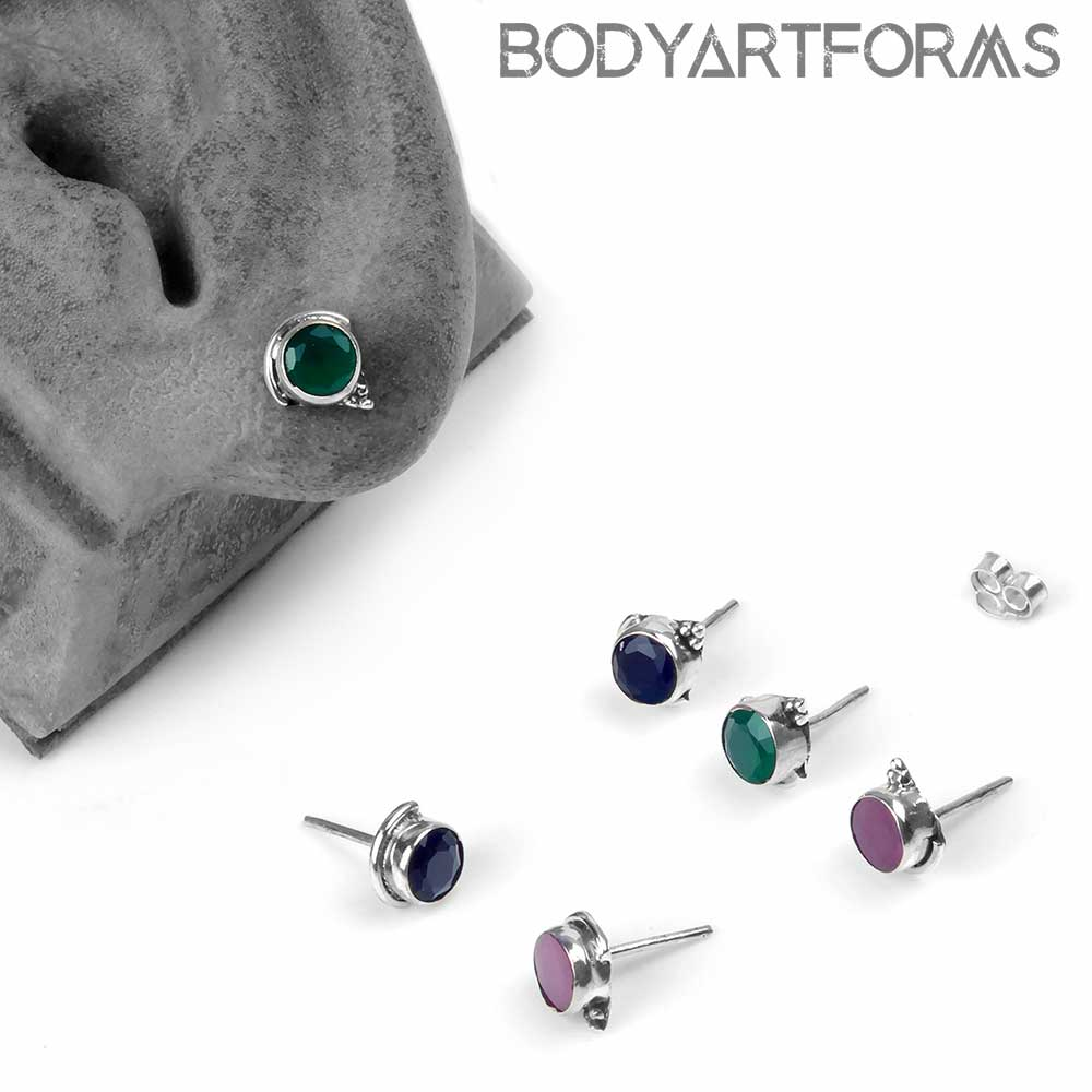 Silver and Faceted Gemstone Stud Earrings