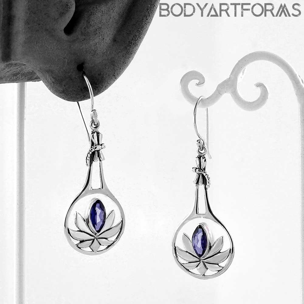 Lotus Earrings with Tanzanite
