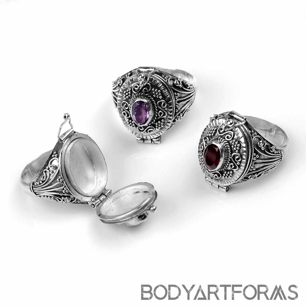 Beaded Silver and Gemstone Poison Ring