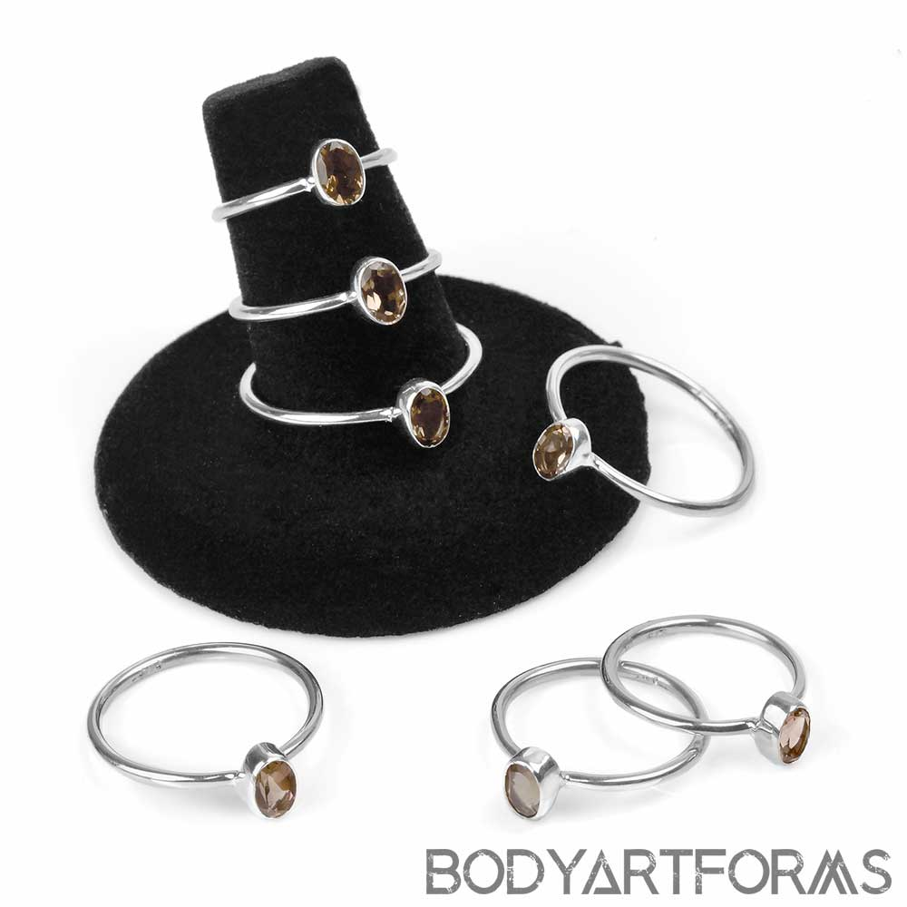 Silver and Smokey Quartz Ring