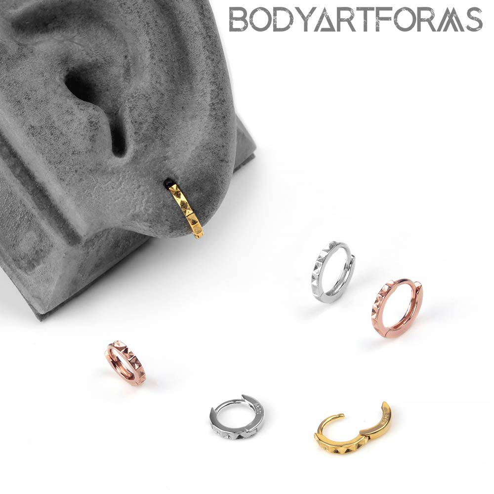 Geometric Lined Huggie Earring