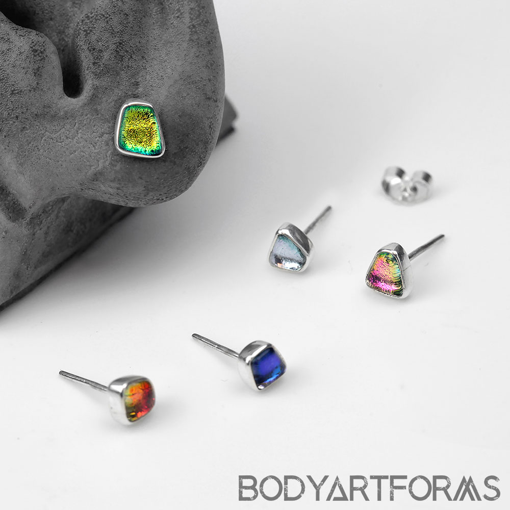 Geometric Dichro Glass and Silver Stud Earrings