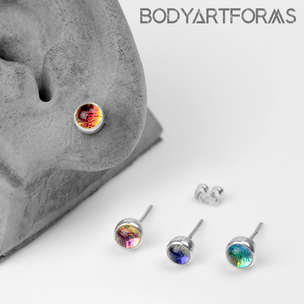 Round Dichro Glass and Silver Stud Earrings