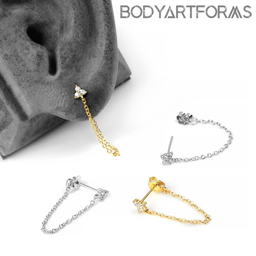 Gem and Chain Stud Earring
