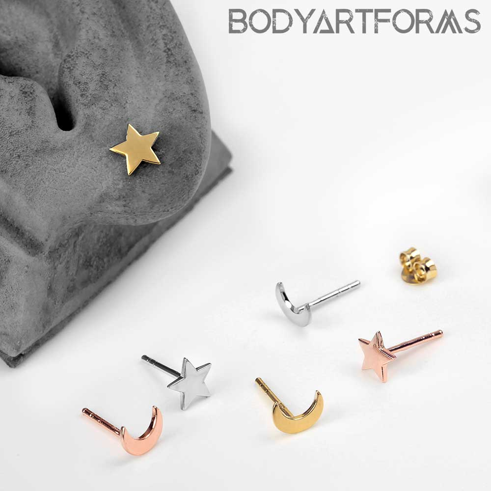 Star and Moon Stud Earrings