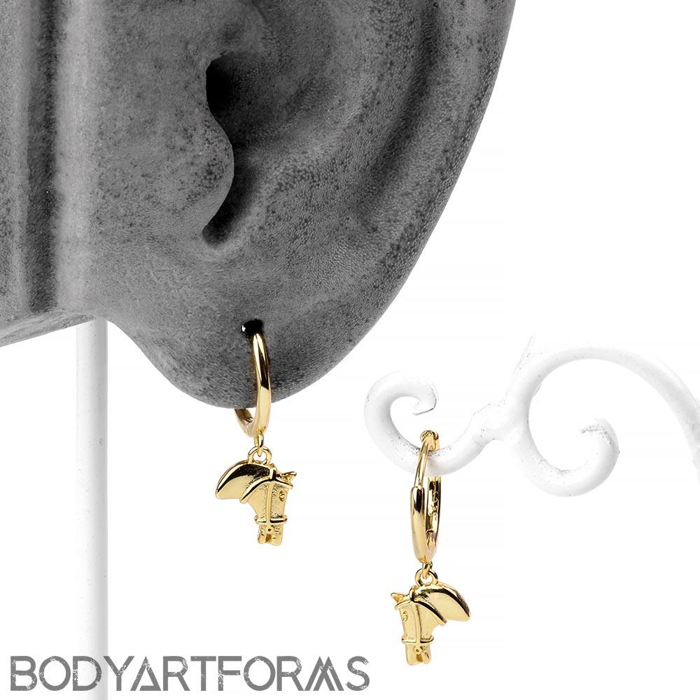 Golden Horse Huggie Earring