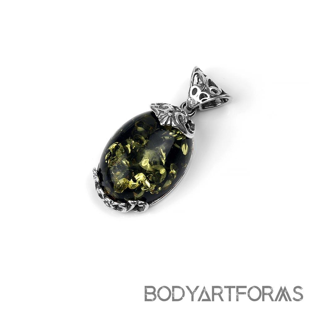Silver and Green Amber Rococo Pendant