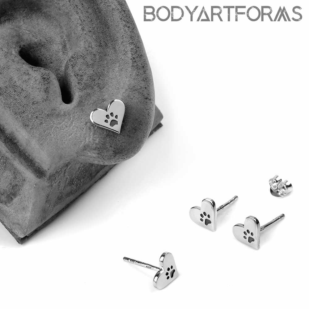 Silver Heart and Paw Print Stud Earrings