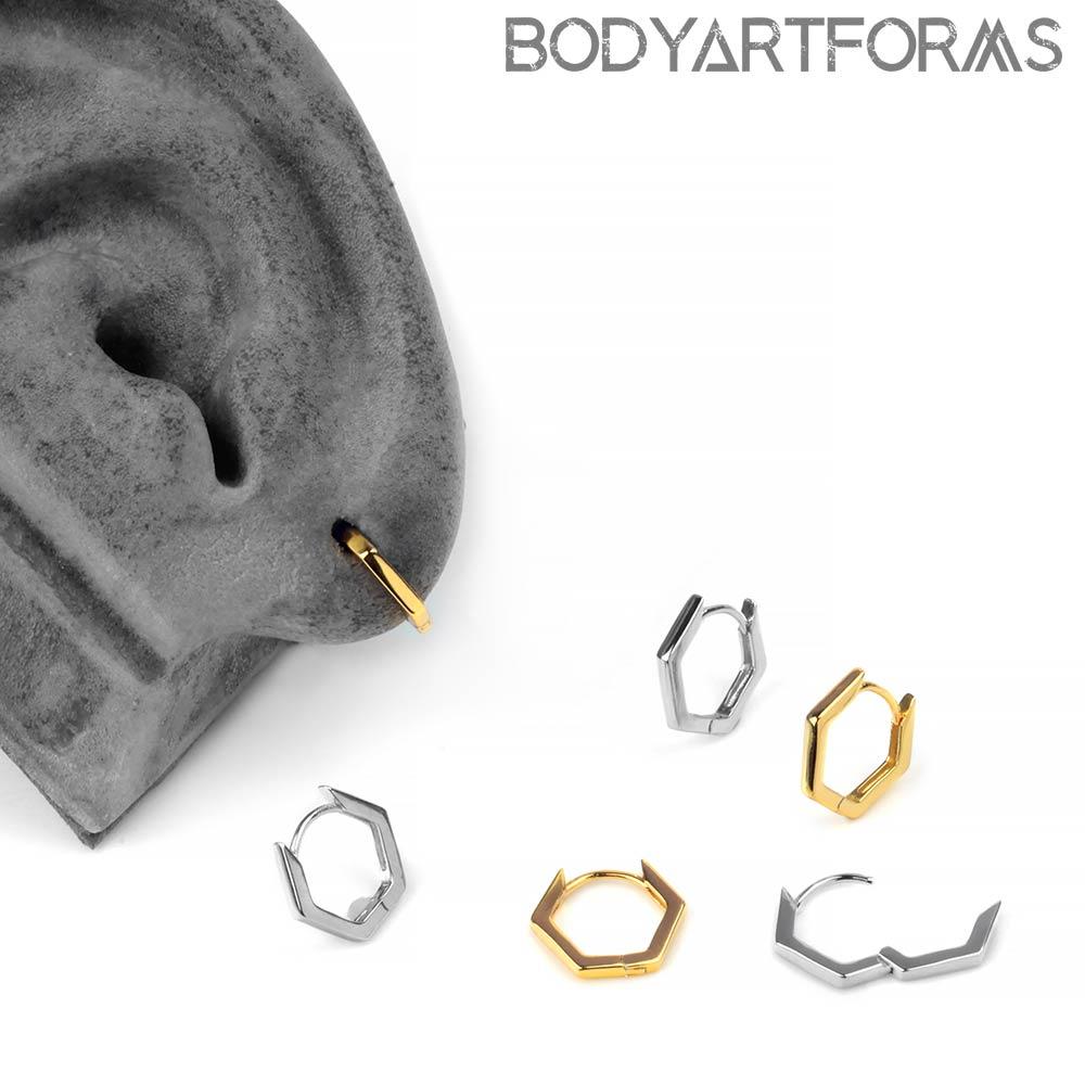 Hexagon Huggie Earring