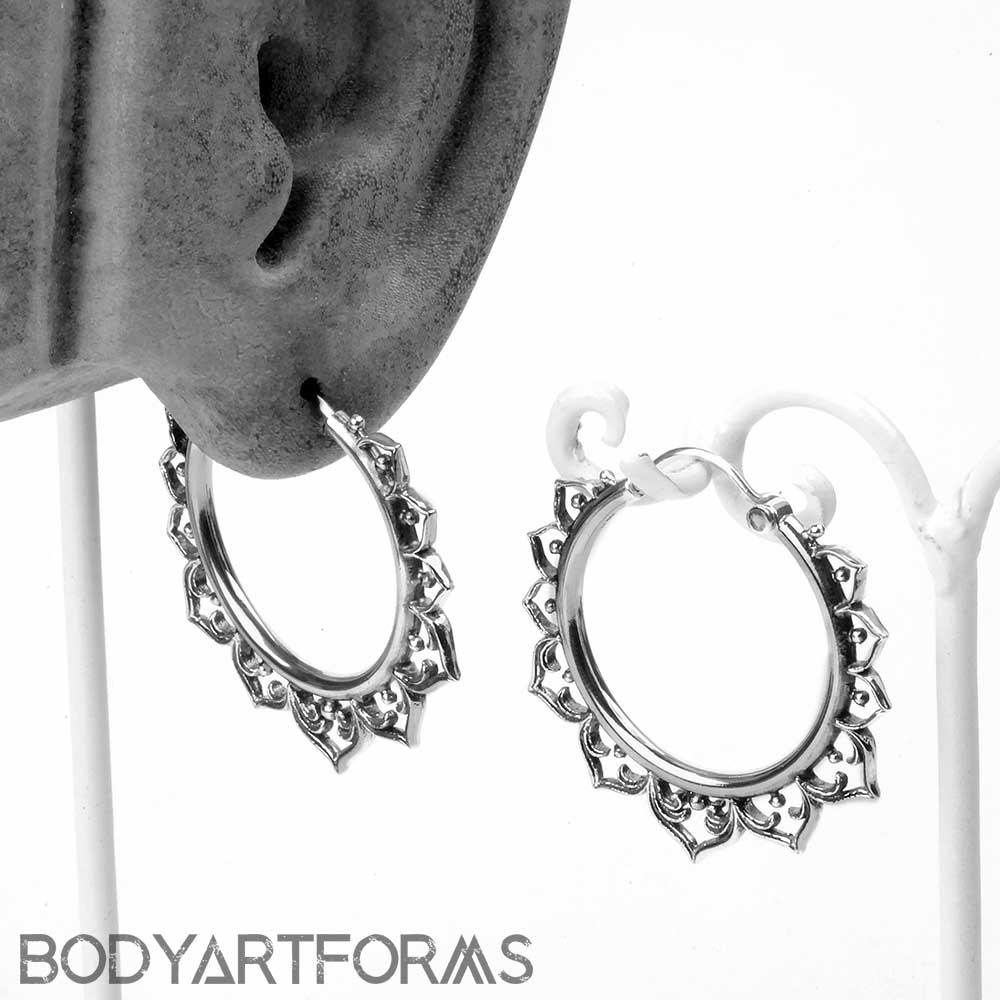 Silver Hollow Lotus Hoop Earrings