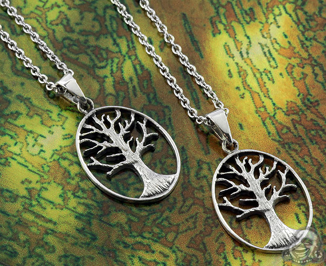 Silver Hollow Tree of Life Necklace