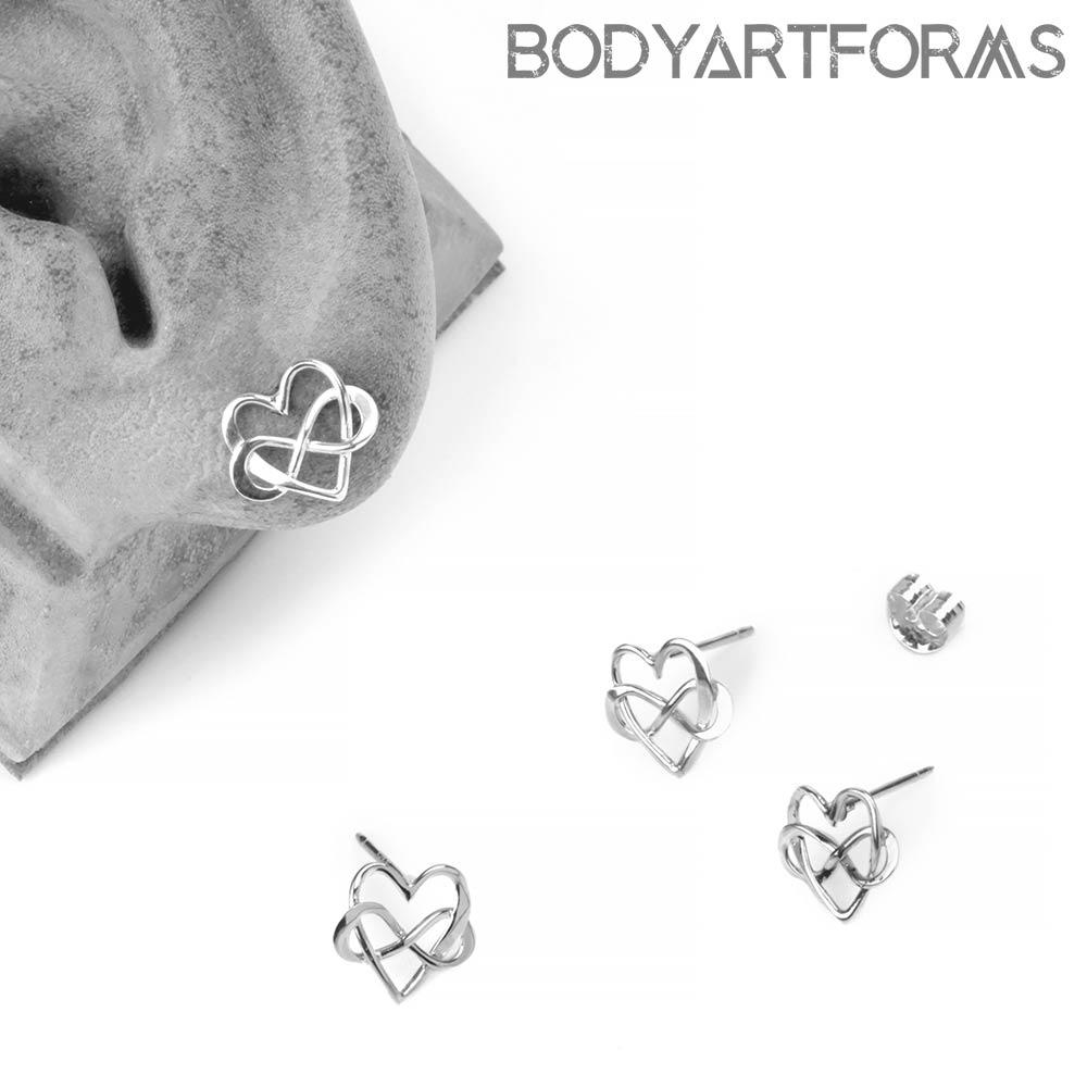 Silver Infinite Love Stud Earrings