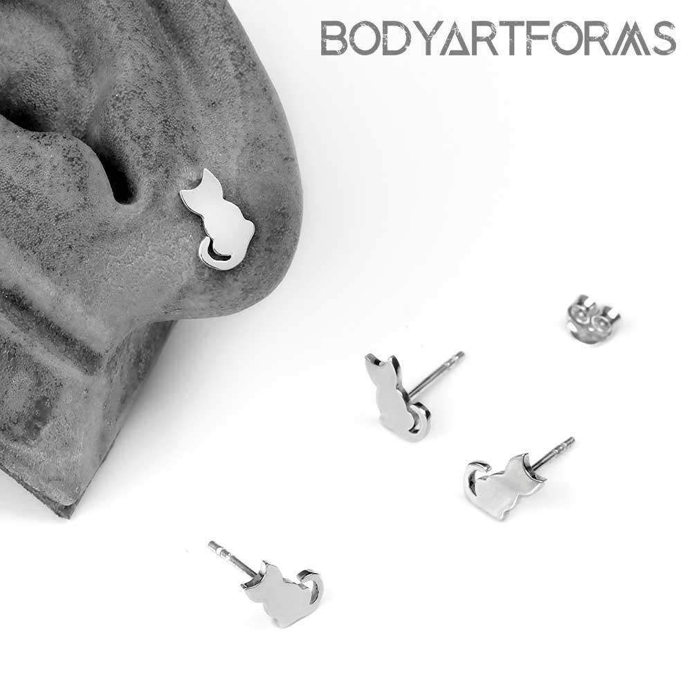 Silver Kitten Stud Earrings
