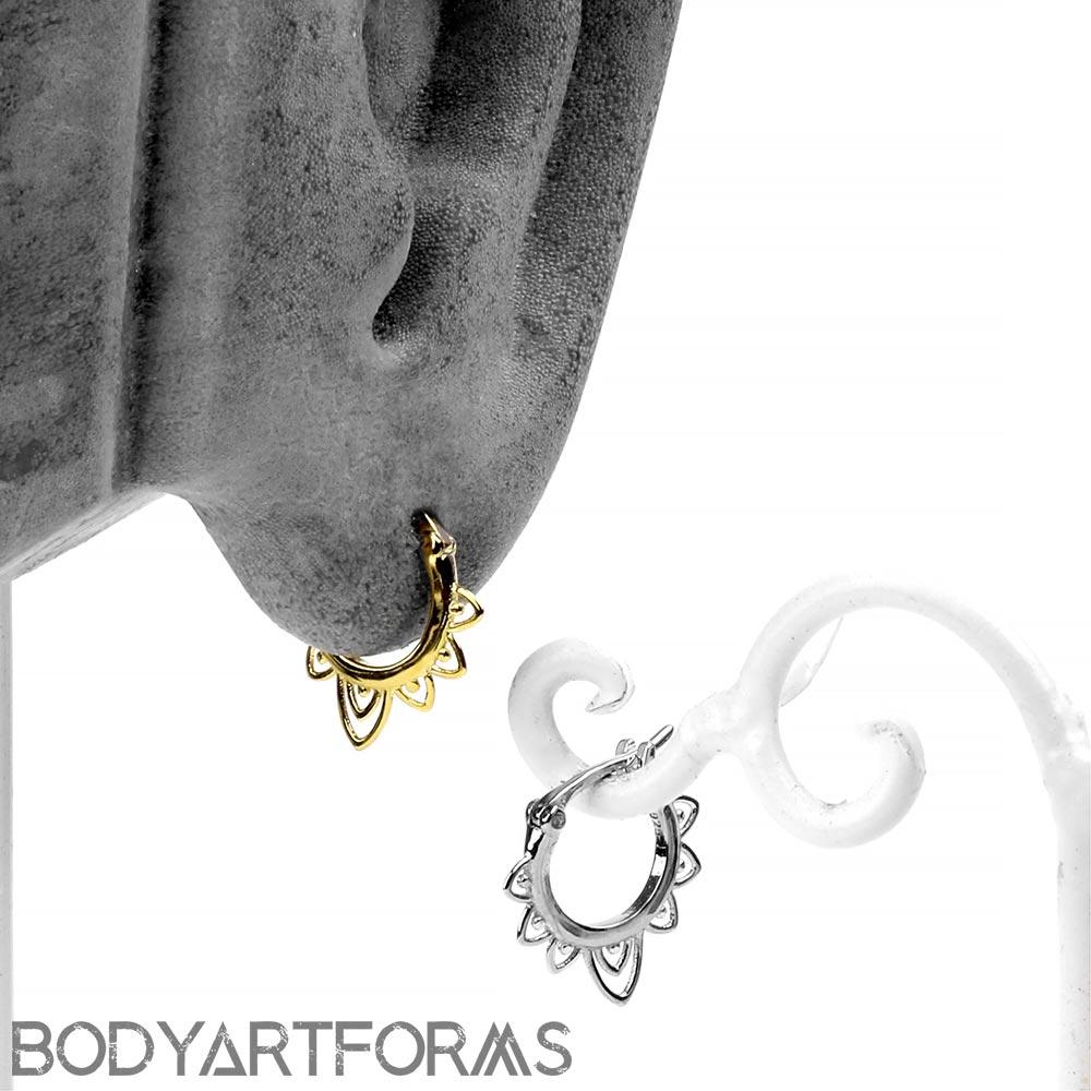 Lace Petal Huggie Earring