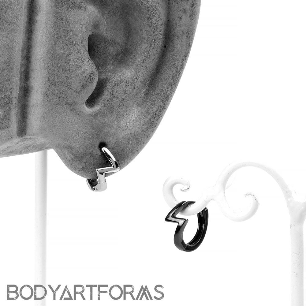 Silver Lightning Huggie Earring