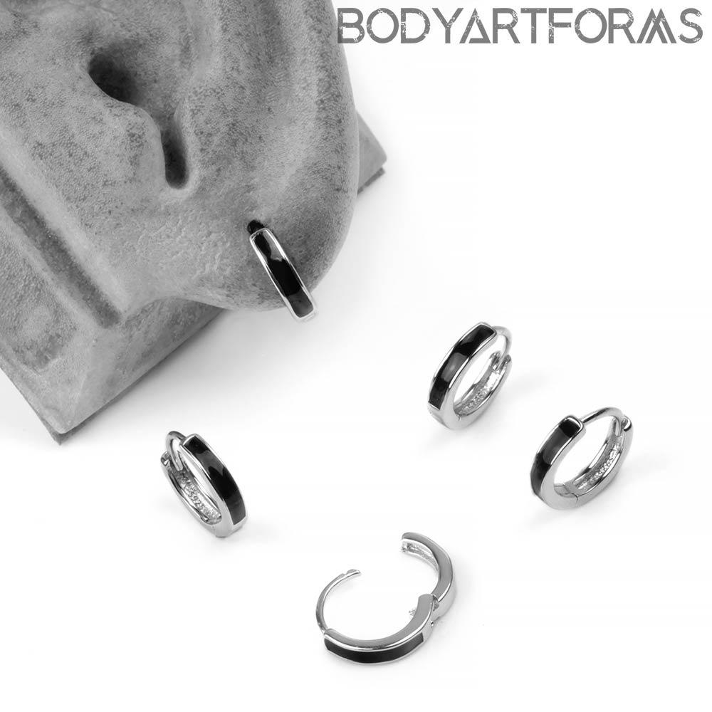 Silver Linear Huggie Earring