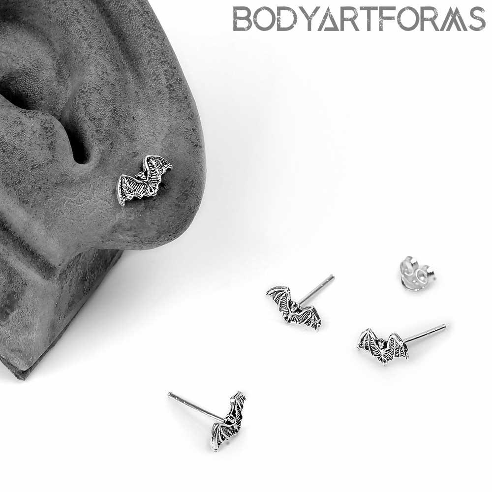 Silver Little Bat Stud Earrings