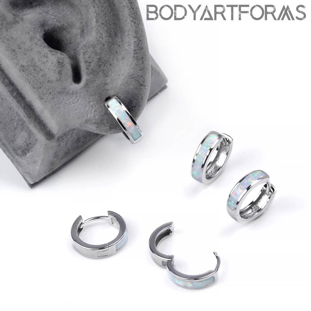 Opal-Lined Silver Huggie Earring