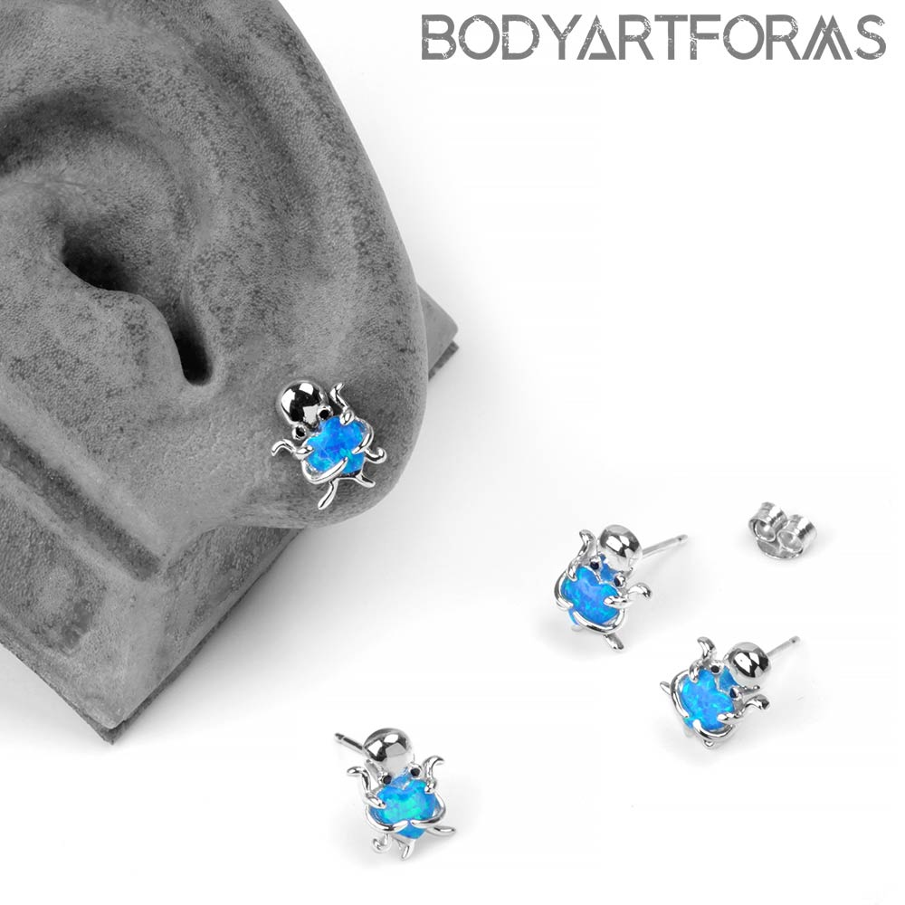 Silver Octopus and Opal heart Stud Earrings