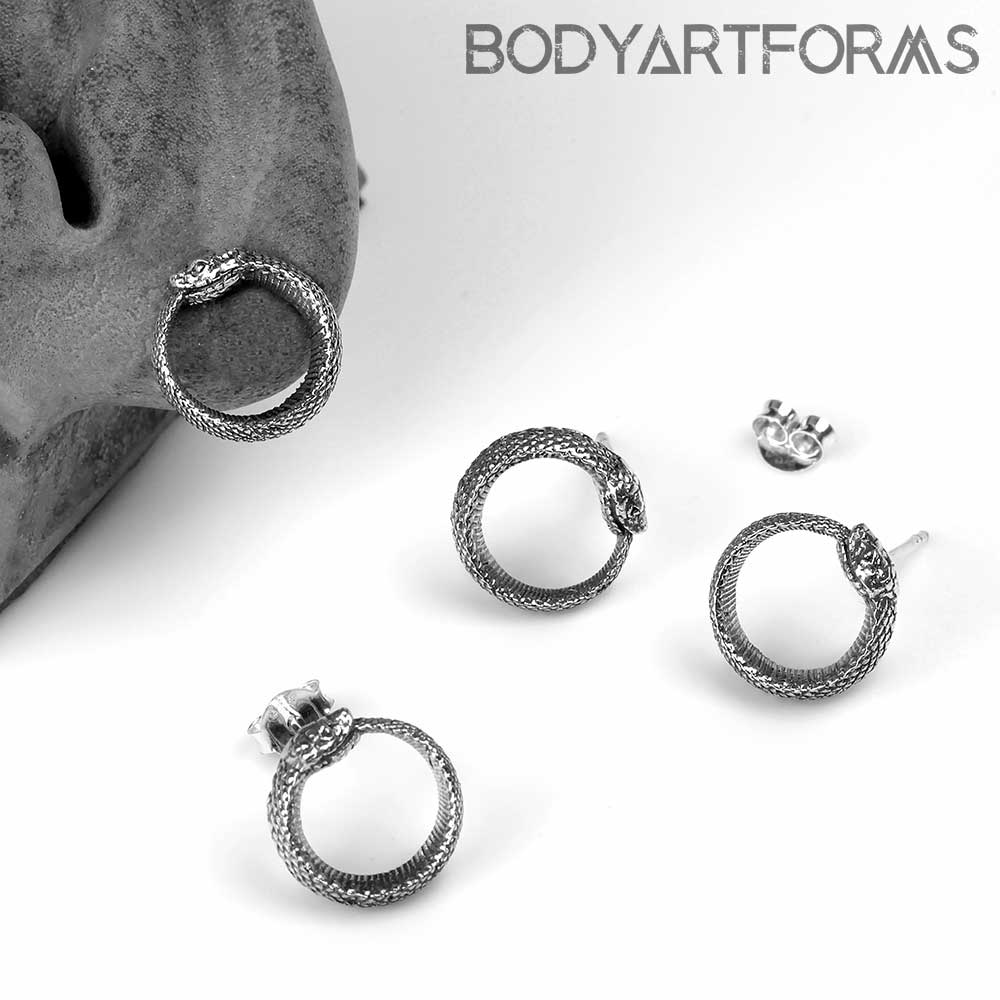 Silver Ouroboros Stud Earrings