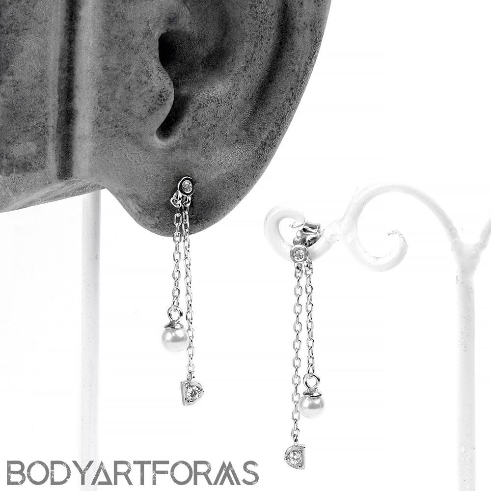 Silver and Pearl Drop Dangle Earrings