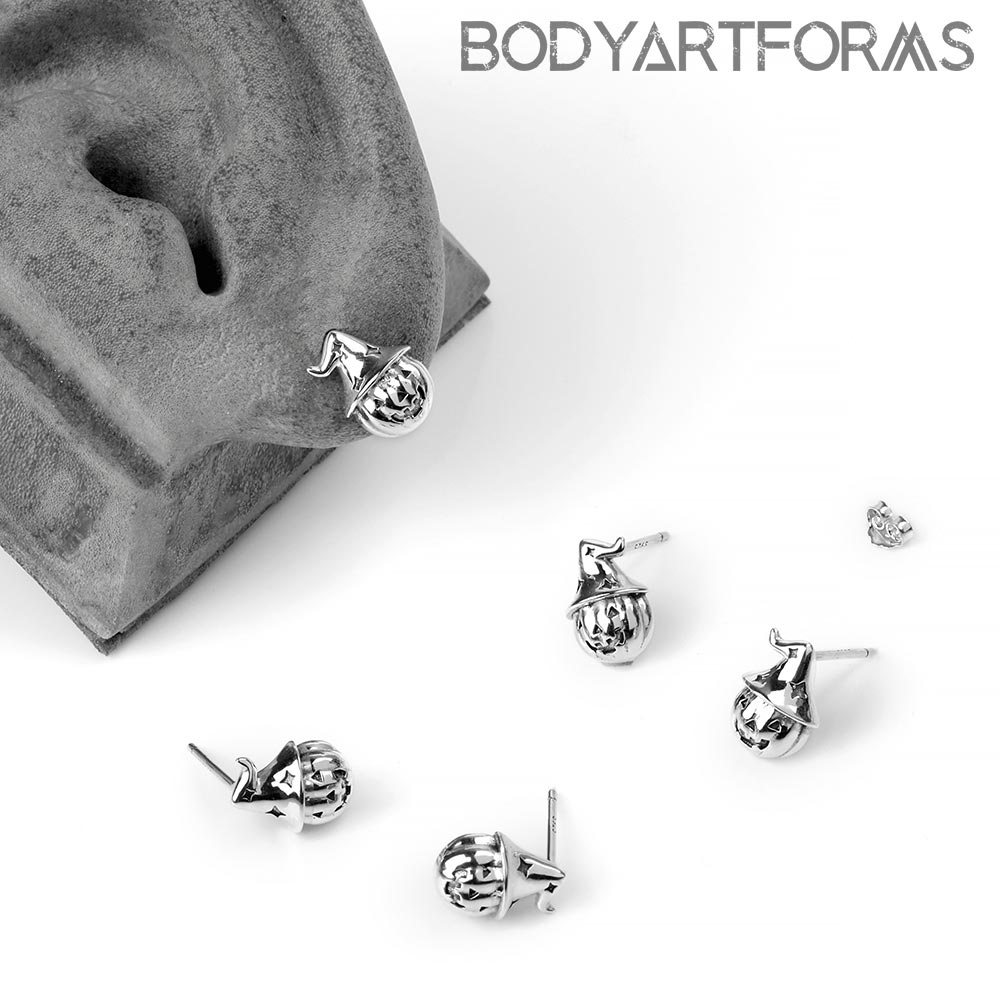 Silver Pumpkin Wizard Stud Earrings