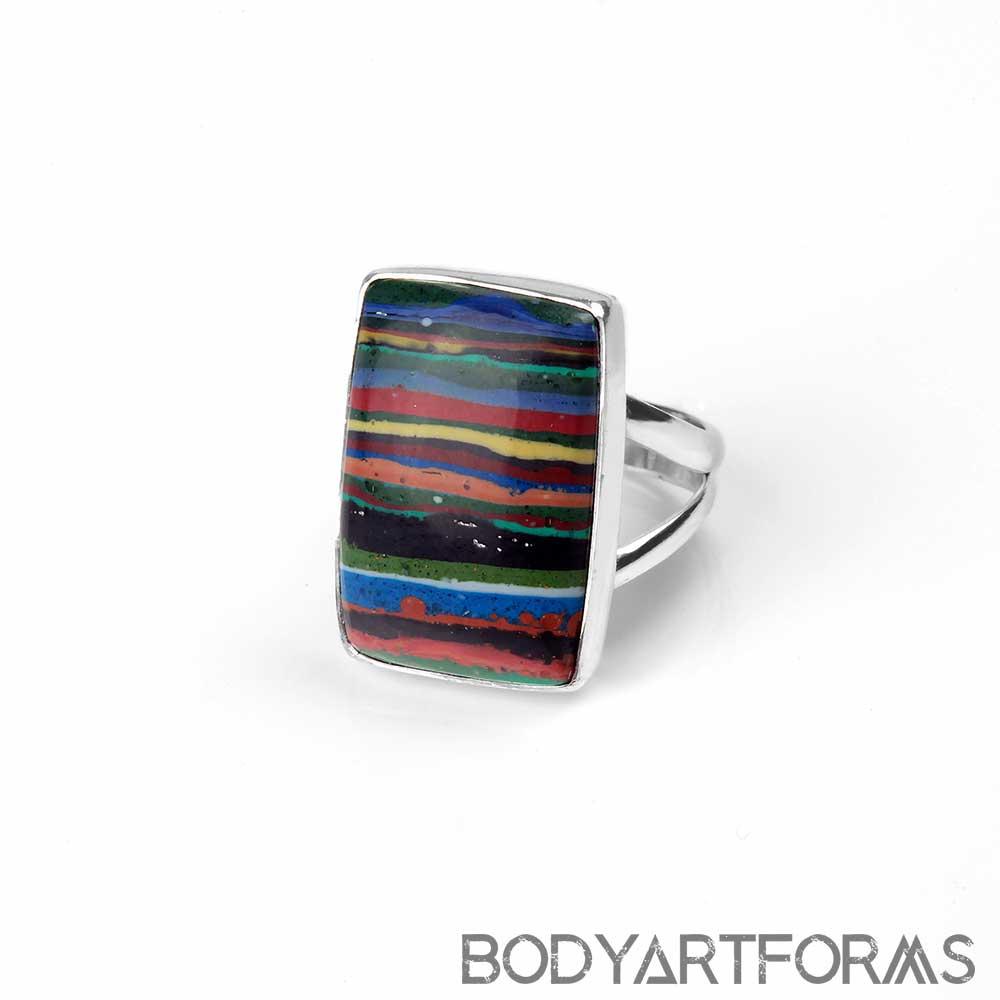 Silver and Rainbow Calcilika Ring